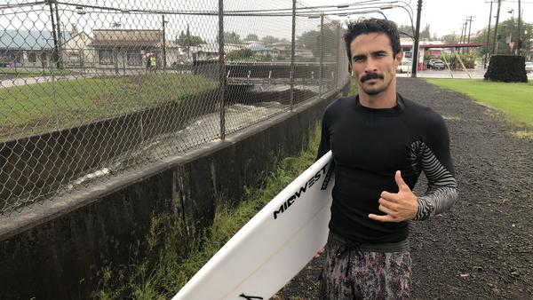 Surfer Shawn Pila of Hilo, Hawaii, after Hurricane Lane brought record rainfall and high waves to the Big Island.