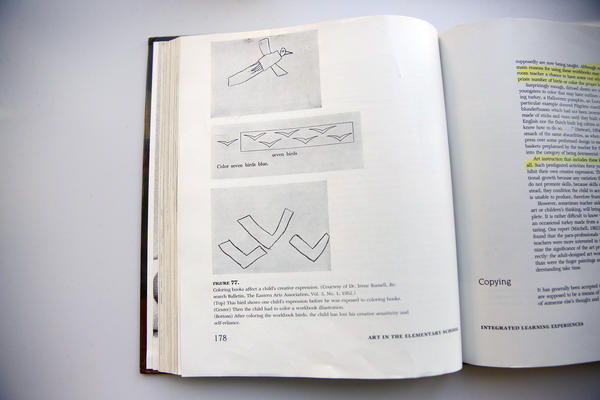 Examples of children's drawings of a bird in Viktor Lowenfeld's book <em>Creative and Mental Growth</em>.