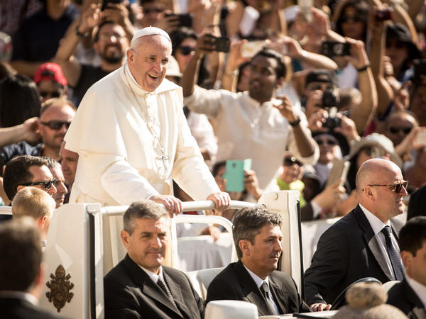 Pope Francis arrives for his weekly general audience in St. Peter's Square on Wednesday.