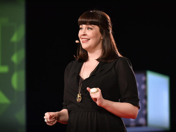 Caitlin Doughty on the TED stage.