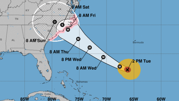 Hurricane Florence is expected to reach the Carolinas and Virginia late this week. The storm is extending hurricane-force winds up to 60 miles from its center, the National Hurricane Center says.