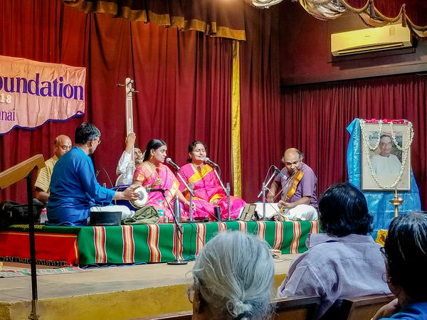 Members of a Carnatic music group perform a concert at Raga Sudha Hall in Chennai.