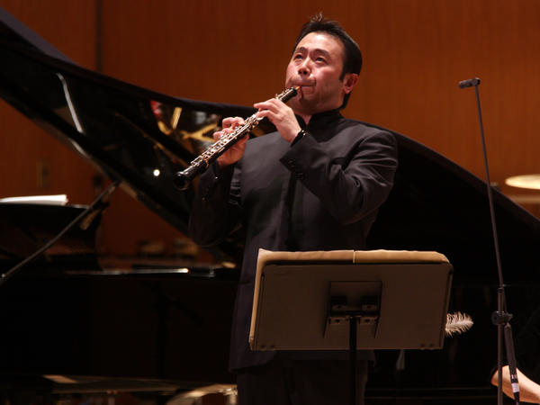 Liang Wang, playing with the New York Philharmonic at New York's Metropolitan Museum of Art in 2013.