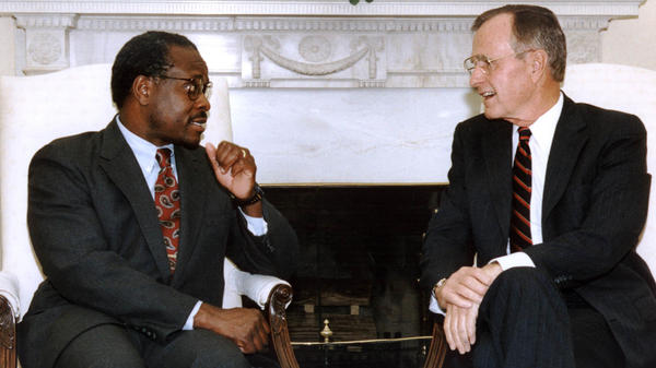 "President George H.W. Bush met Supreme Court nominee Clarence Thomas on Oct. 9, 1991 in the White House. Bush reaffirmed his ""total confidence"" in Thomas."