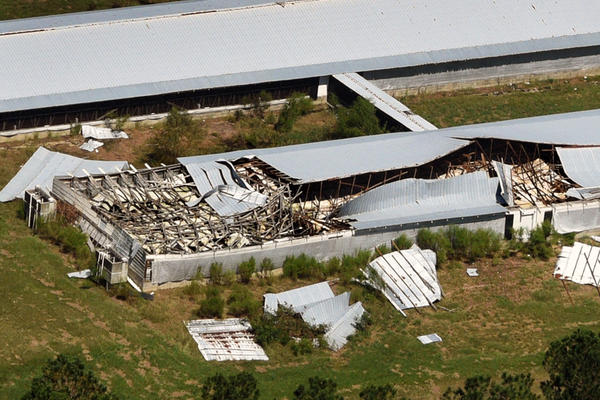 Aerial views of damage from Hurricane Florence in North Carolina.