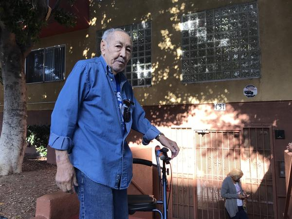 Robert Rodriguez, 82, couldn't afford the rent increases at his apartment in Los Angeles and worries he could end up on the streets.