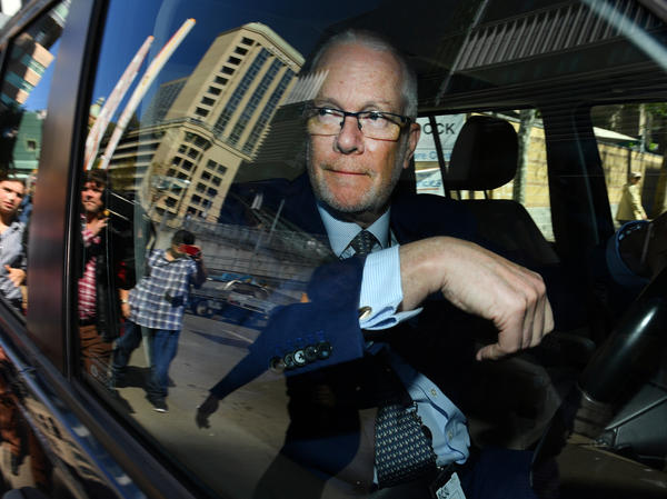 Former ABC chairman Justin Milne leaves the ABC studios in Sydney after resigning his chairmanship on Thursday.