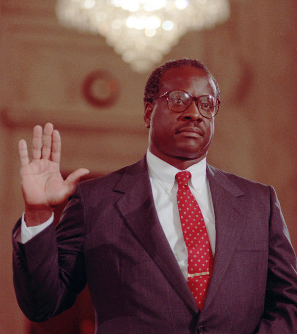 U.S. Supreme Court Justice nominee Judge Clarence Thomas is sworn in before the Senate Judiciary Committee on Sept. 10, 1991.