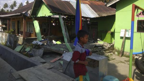 A house in Donggala on the Indonesian island of Sulawesi sits damaged after an earthquake early Friday.