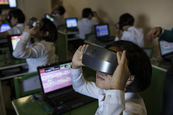 At a teachers college in Pyongyang, students and administrators repeatedly showed off technology, including laptops, holograms, interactive virtual students and these virtual reality headsets.