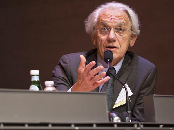Gérard Mourou, one of three scientists to win the 2018 Nobel Prize in Physics, is shown during a conference in Paris in 2015. Arthur Ashkin of the United States and Canadian Donna Strickland also share the prize.