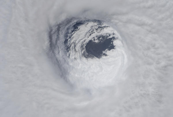 The eye of Hurricane Michael as seen from the International Space Station on Wednesday.