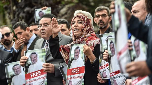 Yemeni Nobel Peace Prize laureate Tawakkol Karman (center) joins a demonstration outside the Saudi consulate in Istanbul earlier earlier this month.