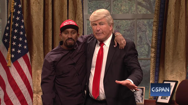 Chris Redd and Alec Baldwin perform in a spoof of Kanye West's visit to the White House on <em>Saturday Night Live</em>.