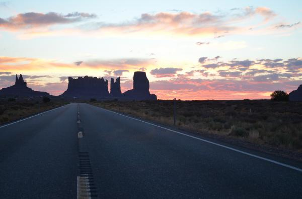 Monument Valley at dawn on the Navajo Nation.