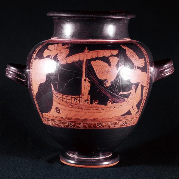 The recently discovered shipwreck reveals details that are similar to the ship on this famed ancient Greek vase, which dates to the fifth century B.C. and depicts Odysseus tied to the mast to brave the sirens.