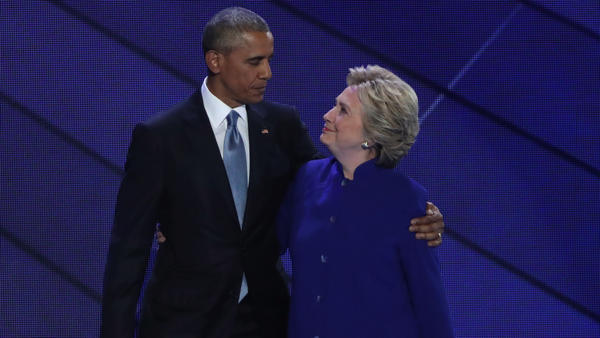"""The Secret Service says the packages addressed to former Secretary of State Hillary Clinton and former President Barack Obama, seen here in 2016, """"were immediately identified during routine mail screening procedures as potential explosive devices."""""""