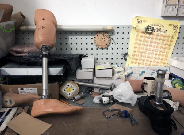 The prosthetics workshop works only three hours a day before a generator runs out of fuel. Gaza suffers from power cuts and fuel shortages due to restrictions from Israel, Egypt and Palestinian leaders outside Gaza seeking to pressure the Islamist group Hamas that controls Gaza.