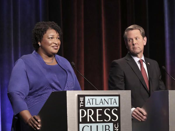 Georgia gubernatorial candidates Stacey Abrams, a Democrat, and Brian Kemp, a Republican, debate at Georgia Public Broadcasting in Midtown.
