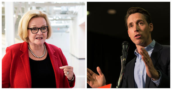 Sen. Claire McCaskill and Attorney General Josh Hawley campaign in the St. Louis region on Monday.