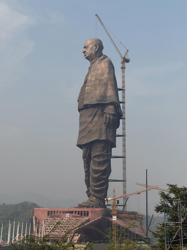 Indian workers put the finishing touches on what will be the world's largest statue when it's inaugurated Wednesday. The work commemorates Sardar Vallabhbhai Patel, a founding father of independent India, and stands some 600 feet tall overlooking the Sardar Sarovar Dam near Vadodara.