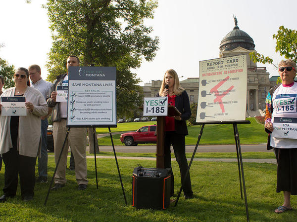 Amanda Cahill, a supporter of Montana's tobacco tax measure, I-185, at a press conference near the state capitol last August. Tobacco firms have spent $17 million in opposition to the initiative, compared to an $8 million campaign by those in favor of it.