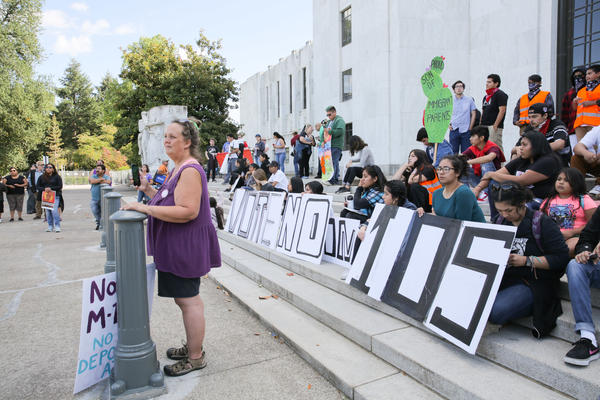 In September, a march protesting Measure 105 by youth organization Latinos Unidos Siempre ended on the Oregon State Capitol steps in Salem, Ore.