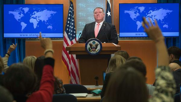 Secretary of State Mike Pompeo, seen at a news conference last week in which he announced penalties against Saudi Arabia over the killing of journalist Jamal Khashoggi. The move evinced some strain between Riyadh and an administration that has generally supported the Saudis.