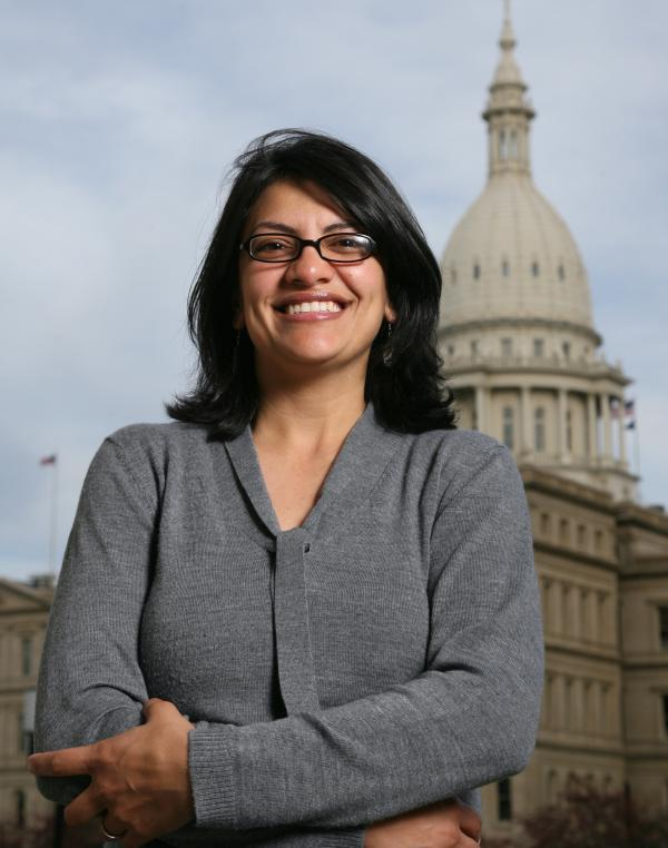 Rashida Tlaib is photographed outside the Michigan Capitol in 2008. Elected to the 12th District of the state House, Tlaib is the first Muslim woman ever to serve in the Michigan Legislature.