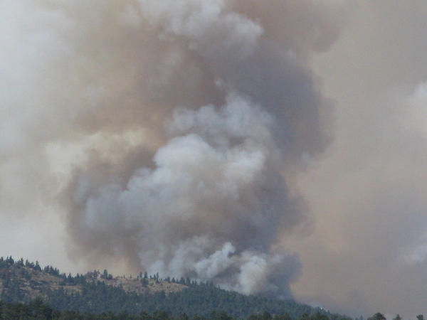 A wildfire burns in Colorado.