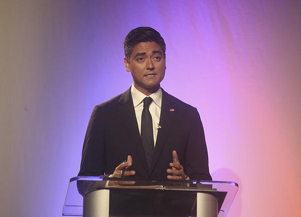 Aftab Pureval speaks during a District 1 debate with Republican Rep. Steve Chabot at the Warsaw Federal Incline Theater on Wednesday, Oct. 24, 2018, in Cincinnati.
