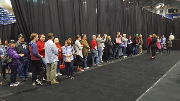 The crowd files into Hy-Vee Arena ahead of Vice President Mike Pence's scheduled rally.