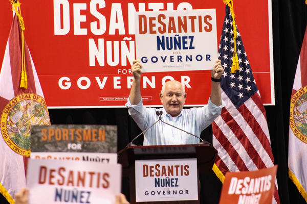 Sonny Perdue, head of the USDA, traveled from Washington D.C. from Lakeland on Saturday to encourage Polk County residents to vote for Republican Ron DeSantis in the governor's race.