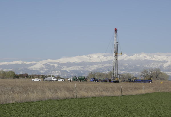 A drilling rig operating near Erie, Colorado.
