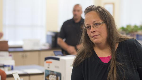 Kim Davis, seen in September 2015, during the height of the controversy around her decision to refuse marriage licenses to same-sex couples. On Tuesday, Davis lost her clerkship in Rowan County, Ky.