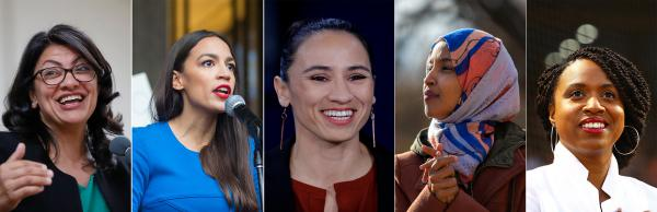 (From left to right) Rashida Tlaib, Alexandria Ocasio-Cortez, Sharice Davids, Ilhan Omar and Ayanna Pressley.