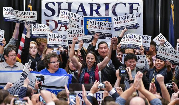 Democrat Sharice Davids gives her victory speech after winning the state's 3rd congressional district race.
