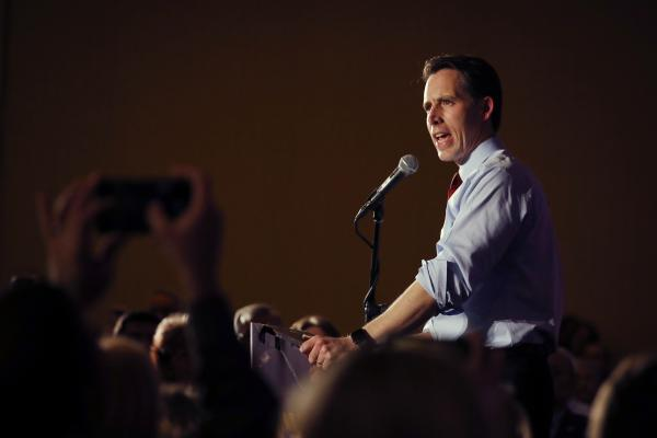 Senator-elect Josh Hawley gives his victory speech in Springfield, Mo., on Tuesday. He defeated Democratic incumbent Claire McCaskill.