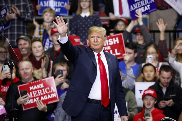 President Trump arrives at a campaign rally for Republican Senate candidate Mike Braun in Fort Wayne, Ind., on Monday. Braun defeated Democratic incumbent Sen. Joe Donnelly.