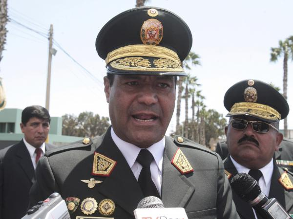 Gen. Raul Becerra, pictured in 2016, is the former head of the national police force of Peru. He  was arrested on Tuesday for his alleged involvement in a child trafficking ring.