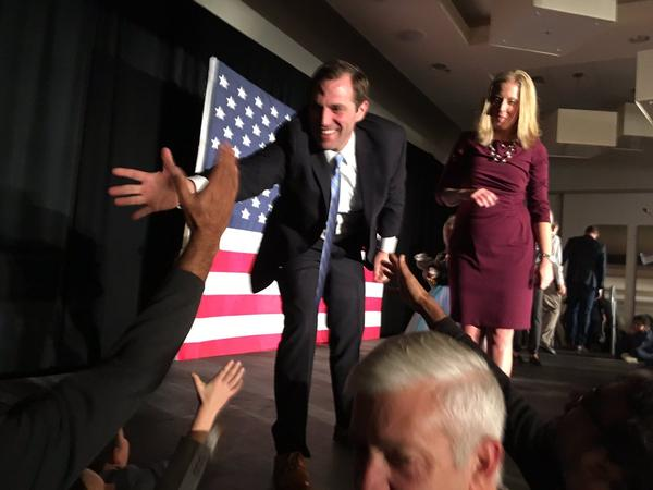 Jason Crow thanks supporters after his acceptance speech in Colorado's 6th Congressional District.