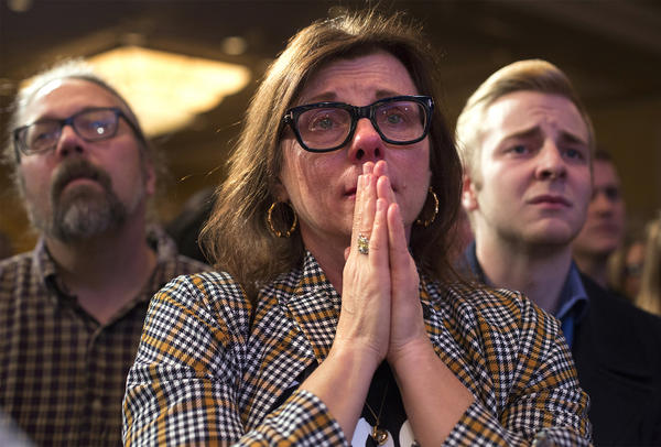Supporters listen as U.S. Sen. Claire McCaskill delivers a speech after conceding to Attorney General Josh Hawley.
