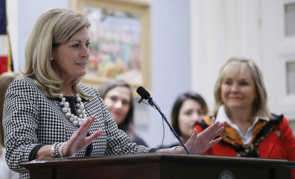 Sen. Kim David, R-Porter, speaks during a news conference in Oklahoma City, April 11, 2017.  David is one of 32 women who will serve in the 2019 legislature, an increase from 21.