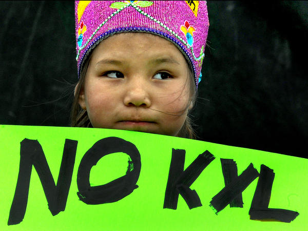 Shawnee Rae, age 8, among a group of Native American activists from the Sisseton-Wahpeton tribe protesting the Keystone XL Pipeline in Watertown, S.D. in 2015.