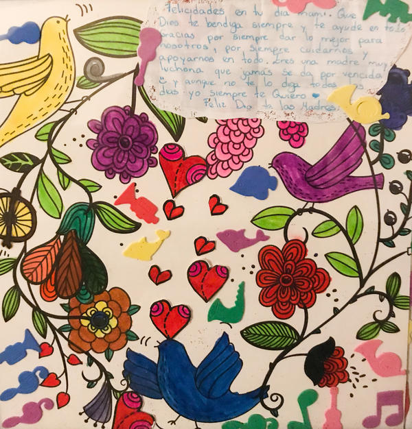 "When translated into English, this gift to Fatima from her eldest daughter says:  ""Happy Mother's Day! May God always bless you and help you with everything. Thank you for always giving us the best, and always taking care of us and supporting us in what we do. Even though I don't tell you this every day, I always love you."""