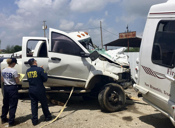Jack Dillon Young the driver of the pickup truck pictured in this March 31, 2017 file photo provided by National Transportation Safety Board, was sentenced to 55 years in prison on Friday. Young killed 13 people in the crash on March 29, 2017 near Garner State Park in Texas.