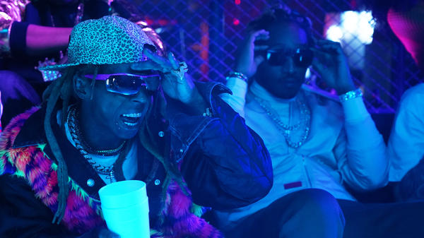 """Lil Wayne, left, with Future during the sketch """"Booty Anthem,"""" from the Nov. 10, 2018 episode of <em>Saturday Night Live</em>."""