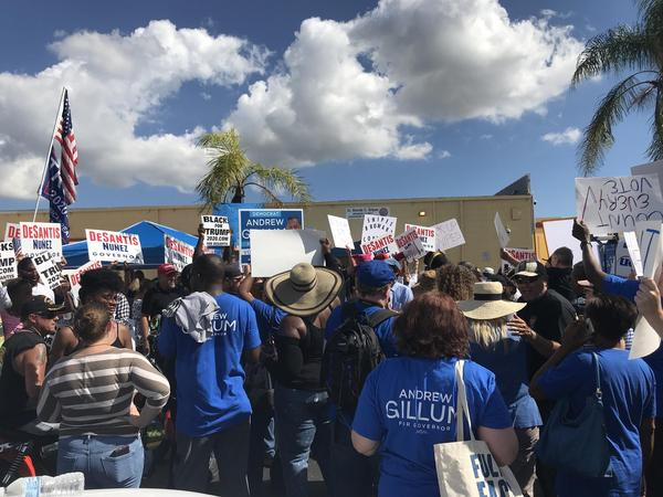 Republican and Democratic protestors demonstrated at the Broward County Supervisor of Elections office on Saturday.