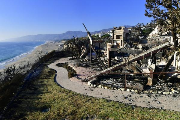 This photo shows the remains of a beachside luxury home along the Pacific Coast Highway community of Point Dume in Malibu, California.