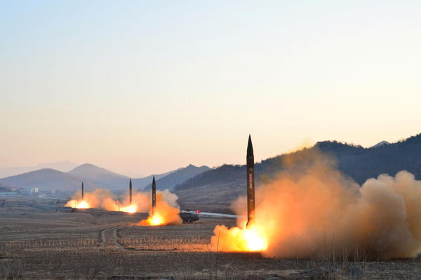 North Korean rockets, such as these shown drilling near Pyongyang on March 7, 2017, launch from mobile trucks.